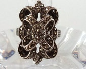 Sterling Marcasite Ring 3-D Ring Size 6