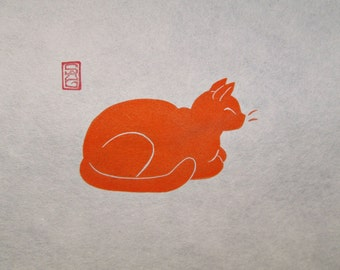 Contentment - Ginger Cat Lino Block Print