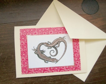 Lizard Valentine - ACEO Courting Lizards - Card Envelope and Archival Print