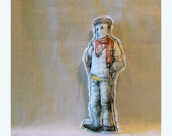 ornament doll man boy fabric Real People original art Jack handmade hand painted textile OOAK figurative