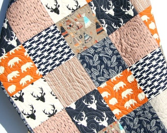 Baby Boy Quilt, Toddler Orange Navy Blue Brown Tan Buck Deer Teepee Woodlands Birch Forest Arrows Blanket Bear Aztec Crib Bedding Quilt