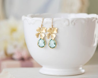 Seafoam Green Earrings, Gold Orchid Flower Aqua Blue Glass Dangle Earrings, Aqua Wedding Bridesmaid Earrings, Valentine's Day Gift for Her