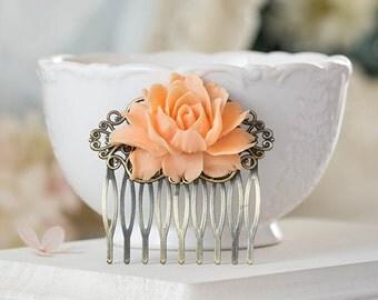 Peach Rose Hair Comb Antiqued Brass Filigree Comb Peach Wedding Hair Slide Bridal Hair Piece Bridesmaid Gift Floral Hair Accessory