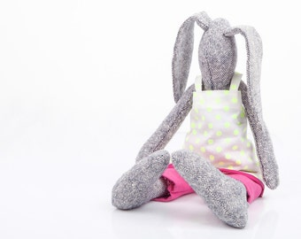 plush toy , gray woven silk rabbit doll , Stuffed eco bunny doll -rabbit doll in neon yellow dots dress & pink pants - handmade eco rag doll