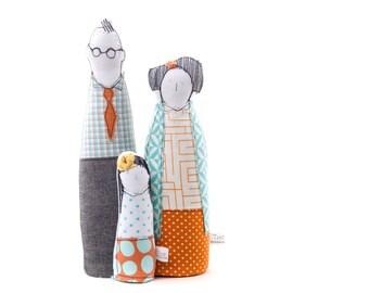Valentines Gifts - Modern family portrait dolls , Couple & girl dolls, handmade soft sculpture dolls ,3-D family portrait , gift for her