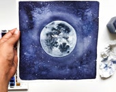 I love you to the moon and back - Watercolor print