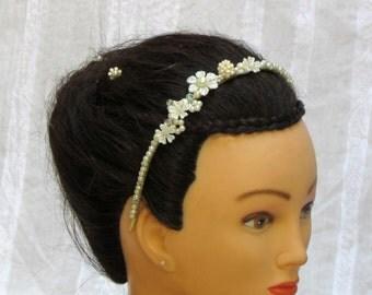 Ivory pearl headband bridal pearl headband pearl bridal headpiece pearl flower crown bride pearl flower halo headband wedding hair jewelry