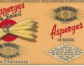 Asperges Le Soleil Belgium Tetes D'Asperges Vintage Can Label, 1940s