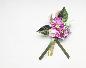 Vintage Inspired Handmade Pansy Bouquet Floral Brooch