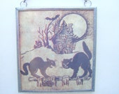Halloween Black Cat Glass and Metal Plaque Ornament Decoration Window Two Sided Chain Hung