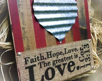 Faith Hope Love Sign , Hanging Plaque , Burlap Sign , Bible Verse , Customize Your Colors , Home Decor