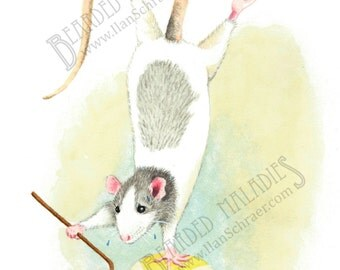 """Dolores's New Routine, Balancing Rat, Greeting Card, 4.25""""x5.5"""", blank inside, trick, illustration, animal, watercolor"""