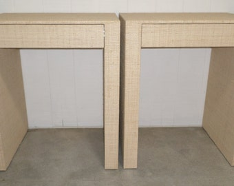 Custom Grasscloth Wrapped Waterfall Side Tables