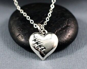 Mended Heart Necklace Sterling Silver | Broken Heart Necklace | Heart Necklace | Stitched Heart Necklace | Best Friend, Girlfriend Gift
