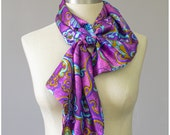 SALE - Satin Scarf - Mod Scarf - 60s Scarf - Psychedelic Floral Scarf - Pink Purple Blue Paisley Scarf - Ascot Scarf - 1960s Scarf