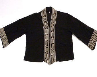 Black Pullover Top from Thailand Vintage Geometric Embroidery Caftan Blouse 1980s 1990s Medium Cotton Twine Embroidery Boho Hippie Tribal