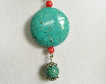 Turquoise and Red Coral Silver Necklace