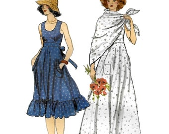 Vogue 9481 Misses' 70s Dress and Shawl Sewing Pattern Size 6, Bust 30 1/2