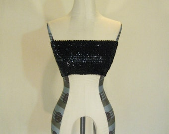Midnight Black Sequin Bandeau Tube Top