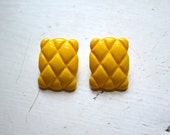 1980s Yellow Quilted Plastic Clip Earrings