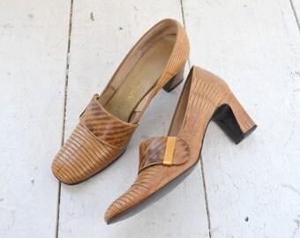 1960s Marquise Faux Snakeskin Heels, Size 7AA