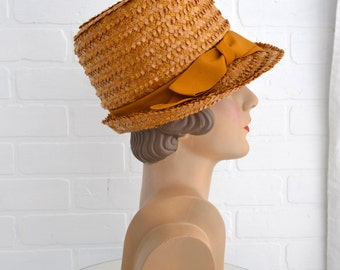 1960s Mustard Straw Hat with Bow