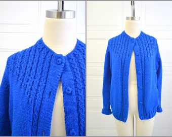 1970s Royal Blue Handknit Cardigan Sweater