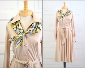 1970s Beige Dress with Scarf