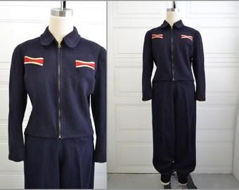 1930s/40s Navy Wool Ski Jacket and Pants Set