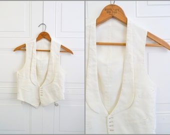 Victorian Joseph Yeska White Cotton Waistcoat