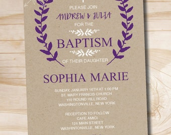 Kraft Floral Baptism Invitation / Christening Invitation / Communion Invitation - Printable digital file or printed invitations