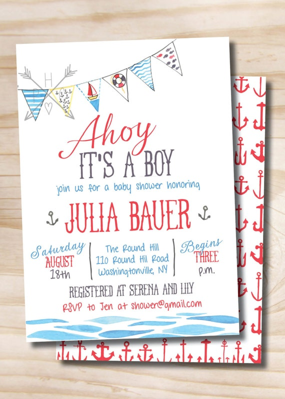 ahoy its a boy watercolor nautical baby shower invitation printable