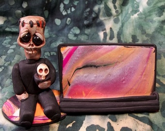 Frankenstiegn Business card holder Cute One of a kind Frankenstiegn gothic card holder desk buddy Polymer clay sculpture Adorable fun piece