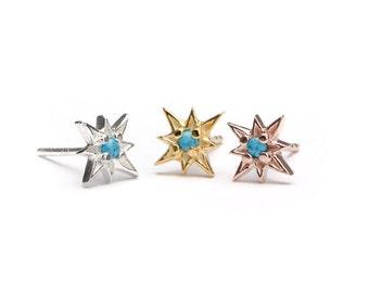 Natural Turquoise Starburst Stud Earrings, Sterling Silver Gold Plated, North Star Studs, Minimal Lunaijewelry, Handmade  Gift STD049TRQ