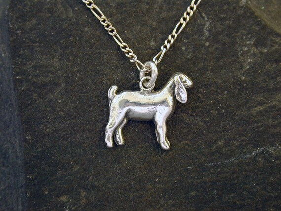 Sterling Silver Nubian Nanny Goat Pendant on a Sterling Silver Chain.