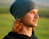 Slouchy Hat for Men - Beanie - Unisex - Heather Gray- Organic Cotton Hemp - Eco Friendly - Organic Clothing