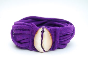 Mermaid - Seashell - Purple Jersey Bracelet - Armband - Organic Fabric - Hawaiian Cowrie Shell - Eco Friendly