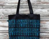 "Organic Tote Bag ""bullets turquoise"" punk DIY screen-print black eco"