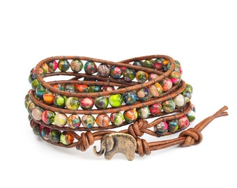 Tie Dye the Lucky Elephant Button Leather Wrap Bracelet- Natural Stone, Jasper - the Lucky Elephant Exclusive