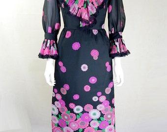 Original Vintage 1970s Jean Allen Floral Maxi Dress UK Size 6/8
