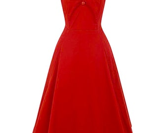 New Vintage Style Elegant Red Dolores Swing Dress Rockabilly Pin Up 50s
