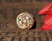 Vintage Rhinestone Pill Box Trinket Box