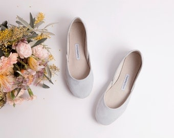 Light Grey Suede Ballet Flats | Soft Nubuck Shoes | Pastel Gray Bridal Flats | Siberian Gray/ Grey Shoes | Wedding Flats.....Made to Order