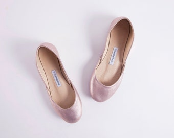The Metallic Ballet Flats in Lavender Rose Gold | Wedding Flat Shoes | Evening Shoes | Lavender Gold