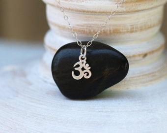 Ohm Necklace, Sterling Silver Ohm Necklace, Om Necklace, Tiny Ohm Necklace, Yoga Necklace, Meditation Necklace, Silver Om Necklace, Yoga