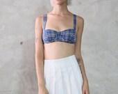 plaid bra, tank top, crop top, bralette, 90s vintage blue white tartan print bra, cupped, grunge, minimal, womens small