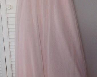 Vintage Pink Nylon Chiffon Lacy Ruffled Nightgown XL