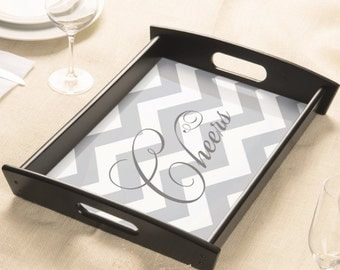 Cheers Personalized Serving Tray - Monogram Wooden Tray w Custom Design - Choose Colors - Breakfast Tray - Wedding Gift - Hostess Gift