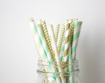 Mint Green, Champagne and Gold Paper Straws, Mint and Gold Wedding Decor, Baby Shower Decorations, Shabby Chic Rustic Buffet Table