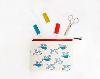 Silkscreen Printed Zipper Pouch · Birds print Sewing Kit · Make-up pouch printed by hand